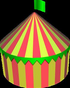 Logo widoczne na namiocie handlowym